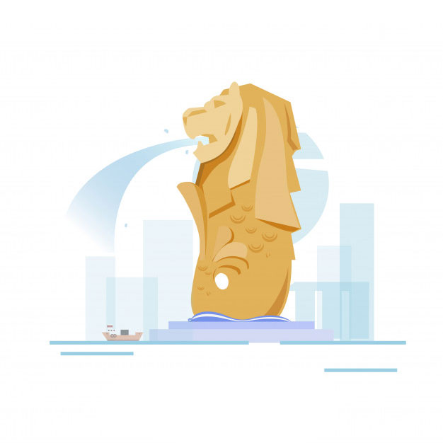Graphic of Merlion in front of the Singapore skyline as a boat sails by